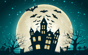 мыши, кладбище, Halloween, ночь, луна, дом