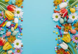 flowers, colorful, candies, blue, Easter, Пасха, праздник, весна