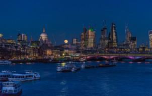 ночь, небо, река, Англия, Лондон, суда, луна, огни, мост, дома