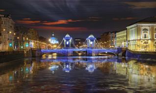 Санкт Петербург, ночь, набережная, Фонтанка, Parsadanov, река, иллюминация, украешние, мост Ломоносова