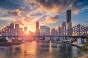 река, Брисбен, Queensland, Квинсленд, Река Брисбен, дома, здания, Brisbane River, небоскрёбы, Стори-Бридж, Story Bridge, закат, мост, Brisbane, Australia