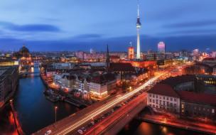 город, огни, небо, Германия, Берлин, вечер, утро