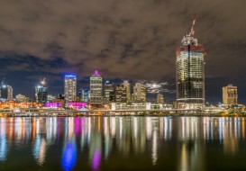 города, брисбен , австралия, огни, ночь, брисбен, мегаполис, небоскребы, река