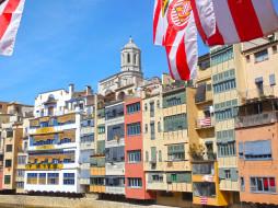жирона, города, - здания,  дома, флаг, дом