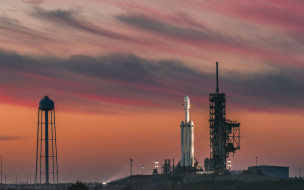 launch pads, Florida, clouds, space, twilight, rocket, sky, evening, USA, Falcon Heavy, Cape Canaveral, SpaceX, sunset