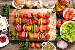 мясо, шашлык, зелень, овощи