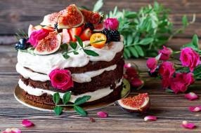 инжир, ежевика, торт