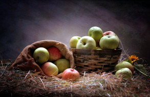 сено, яблоки, урожай
