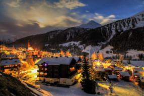 огни, горы, долина, город, вечер