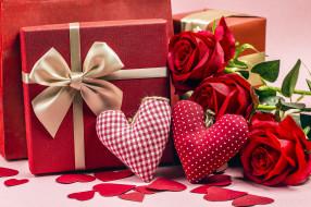 сердечки, подарки, розы