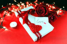 свеча, подарок, розы, сердечко