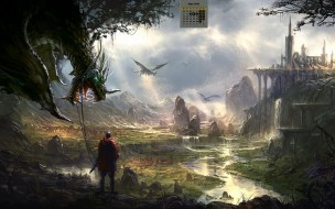 календари, фэнтези, 2018, дракон, человек, водоем