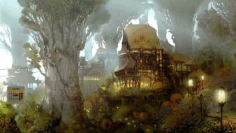 календари, фэнтези, 2018, дом, фонарь, деревья
