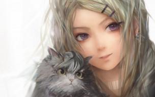 кот, девочка, лицо