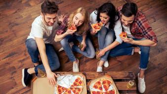 пицца, ужин, друзья