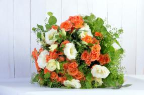 цветы, букеты,  композиции, эустома, розы
