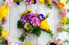 цветы, букеты,  композиции, глазки, герань, анютины, фрезия