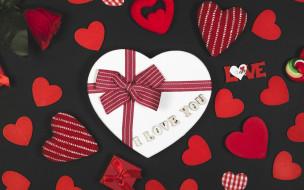 Сердечки, Подарок, День влюбленных, День святого Валентина, Роза, Праздник