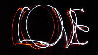 надпись, любовь, темный фон, черный, светящиеся, слово, графика, буквы, черный фон, линии, свет, день святого валентина, фон, праздники, love