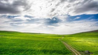 небо, облака, поле, дорога