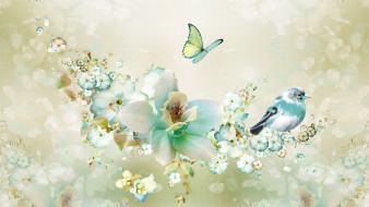 лепестки, рисунок, коллаж, картинка, фон, рендеринг, птица, фантазия, весна, цветы, бабочка