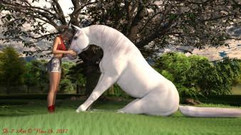 природа, взгляд, фон, конь, девушка
