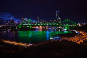 brisbane, города, брисбен , австралия, ночь, огни, панорама, мост