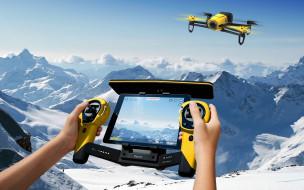полет, пульт, дрон, снег, горы, небо, управление, руки