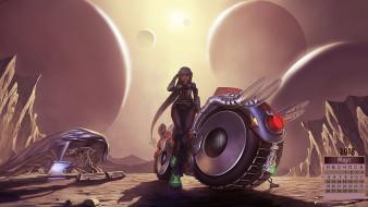 мотоцикл, планета, девушка, 2018