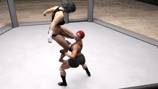 фон, девушки, грудь, взгляд, ринг, борьба
