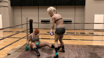взгляд, девушки, ринг, фон, бокс
