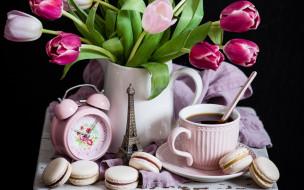 макаруны, чай, часы, тюльпаны