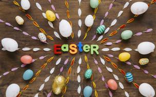 Праздник, Яйца, Буквы, Пасха, Лепестки