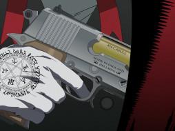 аниме, hellsing, alucard, шакал, рука, вампир, оружие, пистолет