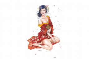 рисованное, люди, кимоно, взгляд, фон, девушка