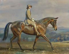 рисованное, живопись, конный, портрет, миссис, маргариты, парк, alfred, james, munnings, альфред, джеймс, маннингс, девушка, лошадь