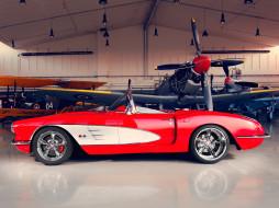 ангар, красный, 2012, C1, Corvette, Racing, Pogea, самолёт