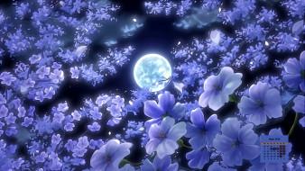 2018, луна, ночь, цветы