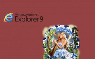 компьютеры, internet explorer, фон, взгляд, девушки