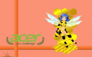 девушка, взгляд, пчела, фон