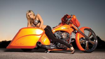 мотоциклы, мото с девушкой, harley, davidson