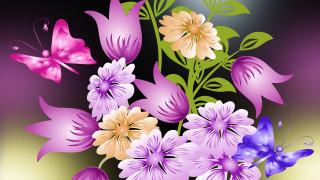 векторная графика, цветы , flowers, фон, цветы