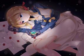 аниме, violet evergarden, взгляд, девушка, фон