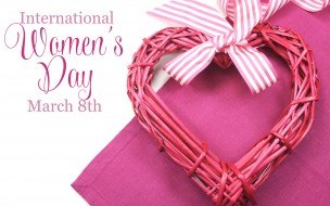 Международный женский день, бантик, сердечко, 8 марта