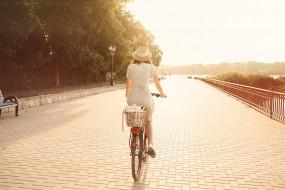 улица, велосипед, платье, шляпа