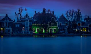 ночь, Зандам, река Зан, дома, Нидерланды, огни