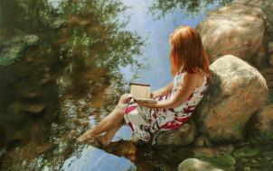 рисованное, живопись, девушка, камни, вода, книга, рыжая