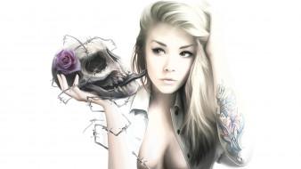 фон, череп, девушка, роза