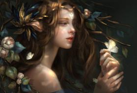 цветы, взгляд, природа, волосы, ушки, девушка, бабочка, фэнтази