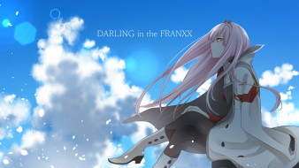 аниме, darling in the frankxx, девушка, взгляд, фон